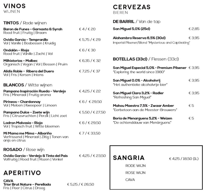 Drankenkaart 1 El Quinto Pino