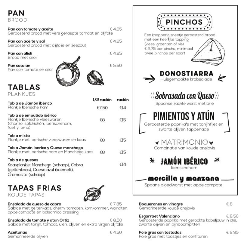 Menukaart 1 restaurant El Quinto Pino