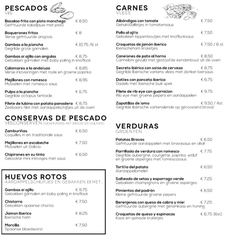 Menukaart 2 restaurant El Quinto Pino