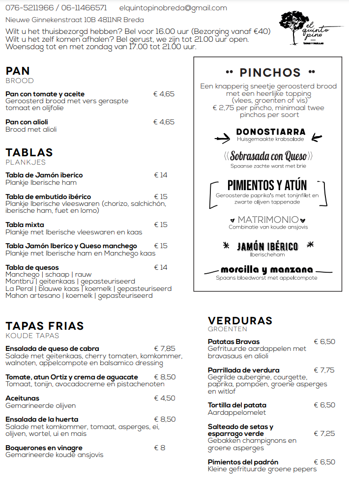 Take away menu tapas breda