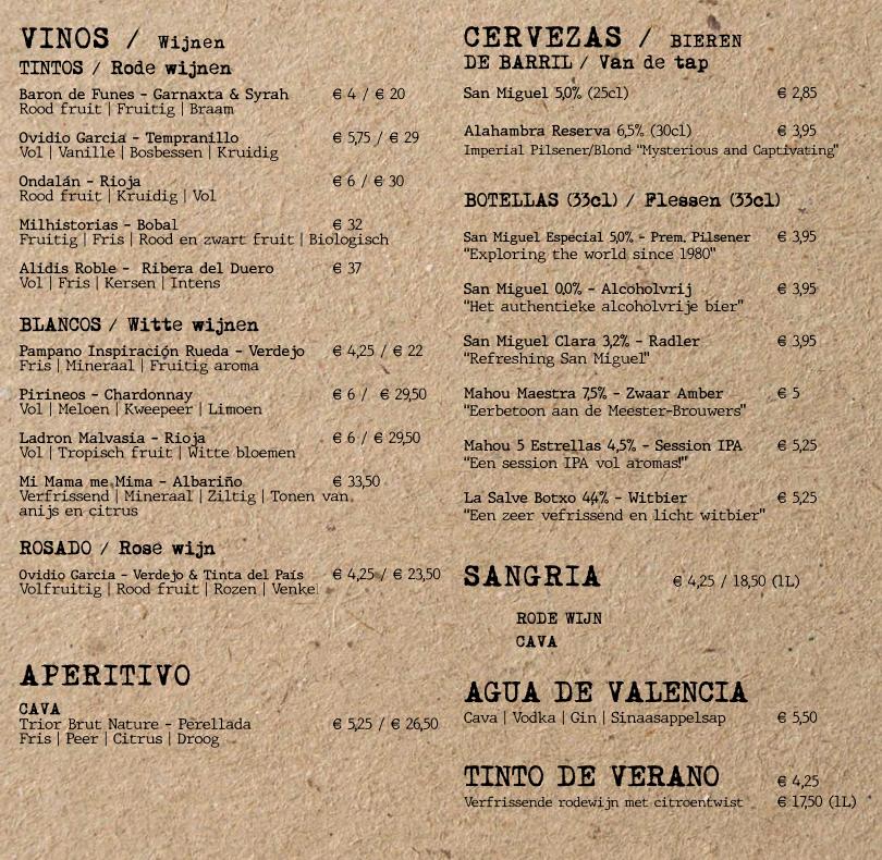Drankenkaart El Quinto Pino
