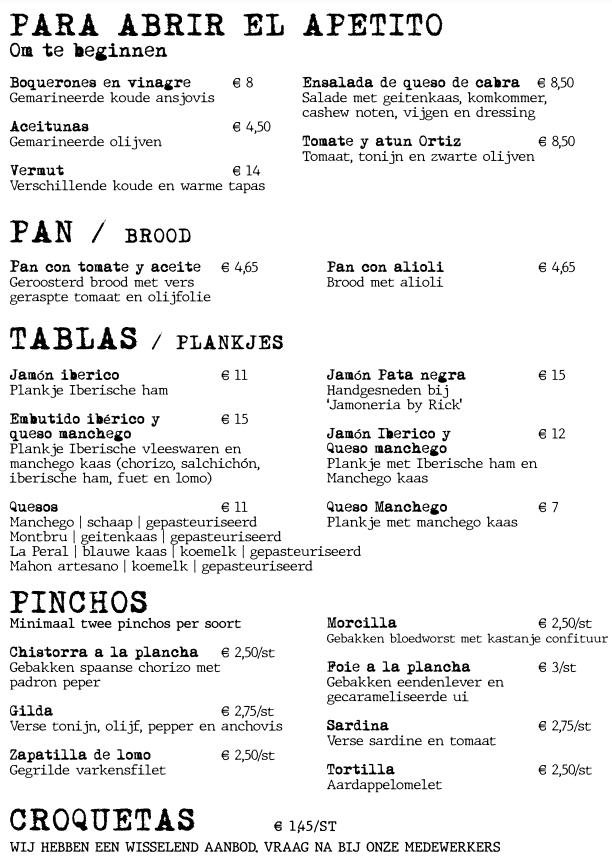 El Quinto Pino menu
